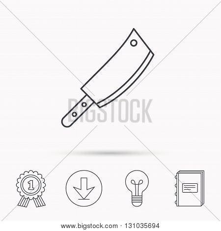 Butcher knife icon. Kitchen chef tool sign. Download arrow, lamp, learn book and award medal icons.