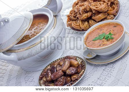 Bowl Of Moroccan Harira Soup,chebakia, Dates For Iftar