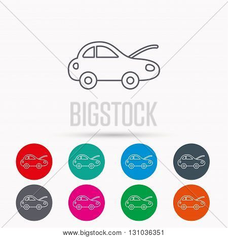 Car repair icon. Mechanic service sign. Linear icons in circles on white background.