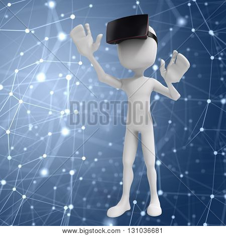 3d man with  virtual reality goggles, concept