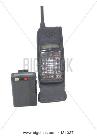 Pager And Cell Phone Over White