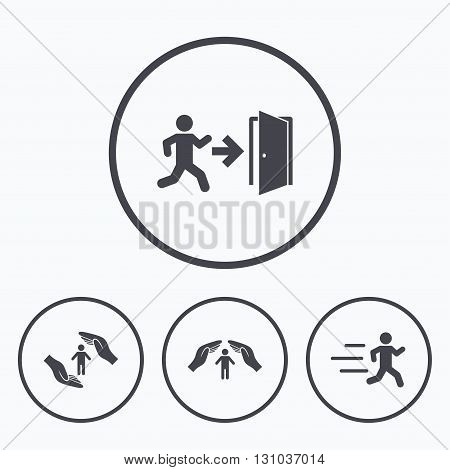 Life insurance hands protection icon. Human running symbol. Emergency exit with arrow sign. Icons in circles.