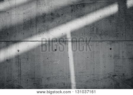 Horizontal Photo Blank Grungy Smooth Bare Concrete Wall with  Sunrays Reflecting on Dark Surface. Empty Abstract background. Black and White.