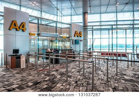 Airport Terminal, Seats And Boarding Gate