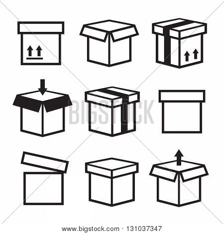 Box vector icons set. Package box container packaging box icon eps10