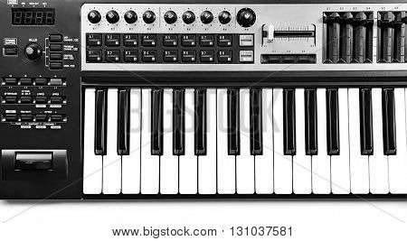 Keyboard of synthesizer closeup