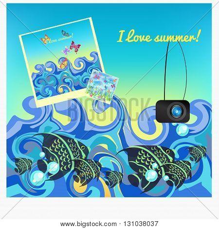 Fish Photos At Sea In Summer. Vector Illustration