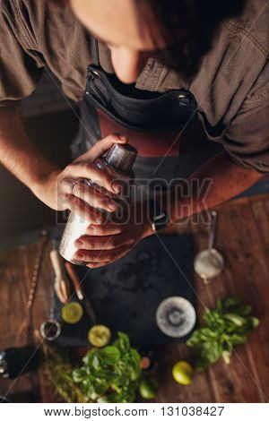 Bartender Preparing A Cocktail With Shaker