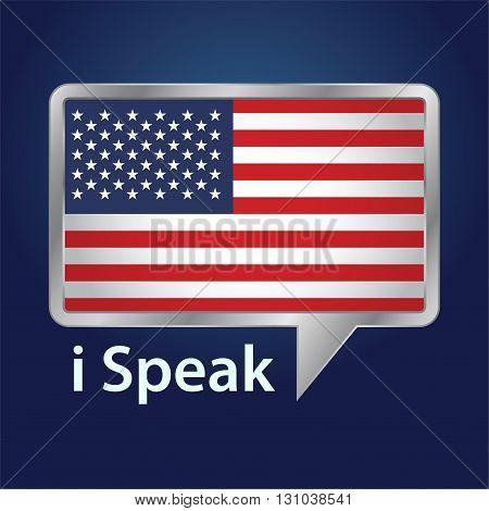 Vector stock of America flag inside speech bubble speaking American English language