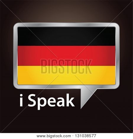 Vector stock of German flag inside speech bubble Speaking German language