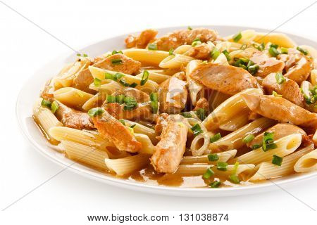 Penne with meat, sauce and vegetables