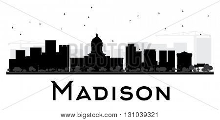 Madison City skyline black and white silhouette. Vector illustration. Simple flat concept for tourism presentation, banner, placard or web site. Cityscape with landmarks