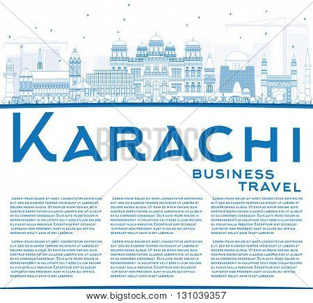 Outline Karachi Skyline with Blue Landmarks and Copy Space. Vector Illustration. Business Travel and Tourism Concept with Historic Buildings. Image for Presentation Banner Placard and Web Site.