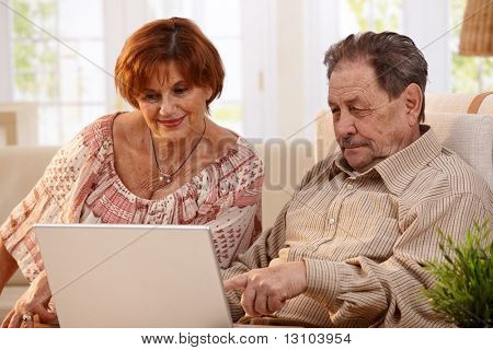 Elderly couple using laptop computer at home, looking at screen, smiling.