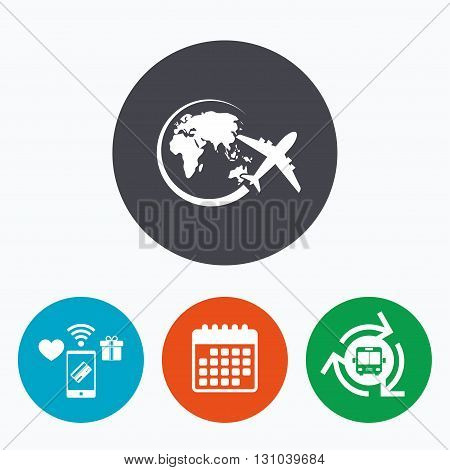 Airplane sign icon. Travel trip round the world symbol. Mobile payments, calendar and wifi icons. Bus shuttle.