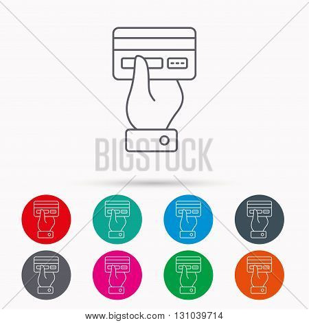 Credit card icon. Giving hand sign. Cashless paying or buying symbol. Linear icons in circles on white background.