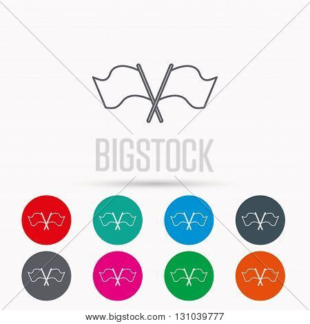 Crosswise waving flag icon. Location pointer sign. Linear icons in circles on white background.