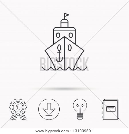 Cruise icon. Ship travel sign. Shipping delivery symbol. Download arrow, lamp, learn book and award medal icons.