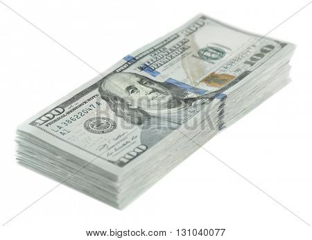 Dollar banknotes isolated on white
