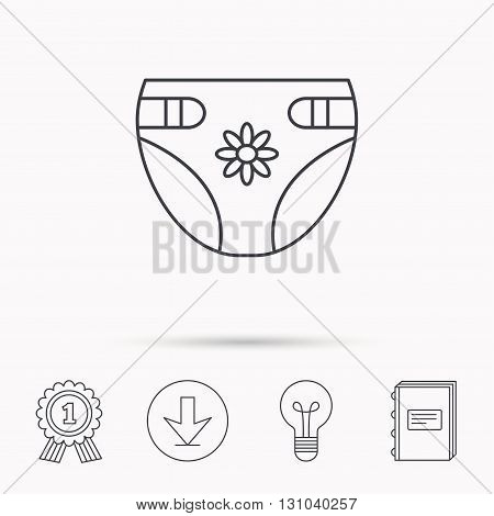 Diaper with flower icon. Child underwear sign. Newborn protection symbol. Download arrow, lamp, learn book and award medal icons.