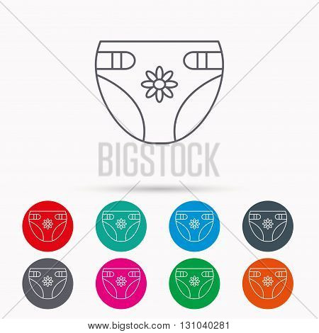 Diaper with flower icon. Child underwear sign. Newborn protection symbol. Linear icons in circles on white background.