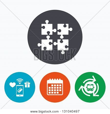 Puzzles pieces sign icon. Strategy symbol. Ingenuity test game. Mobile payments, calendar and wifi icons. Bus shuttle.