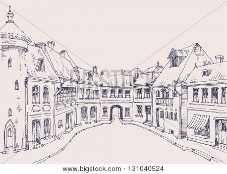 City street, retro style buildings sketch, urban background