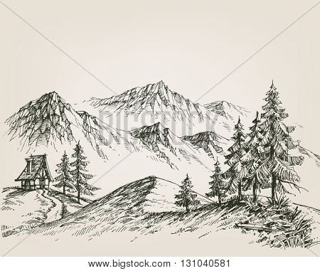 Nature drawing, a hut in the mountains