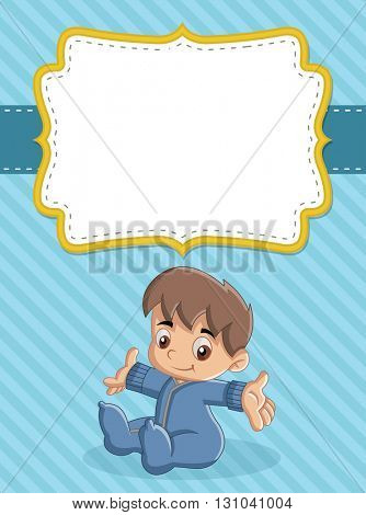 Card with a baby boy. Cute toddler.