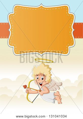 Card with a cartoon cupid angel boy in heaven aiming at someone