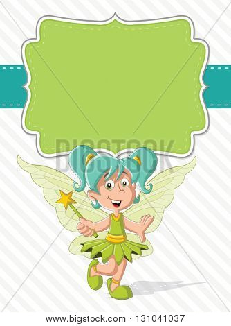 Green card with a cute cartoon fairy girl on colorful nature background