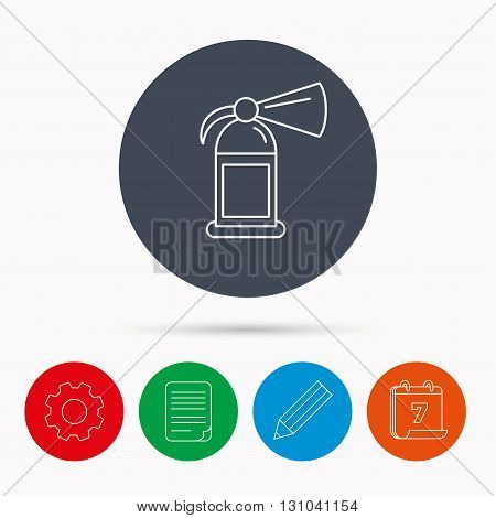 Fire extinguisher icon. Flame protection sign. Calendar, cogwheel, document file and pencil icons.