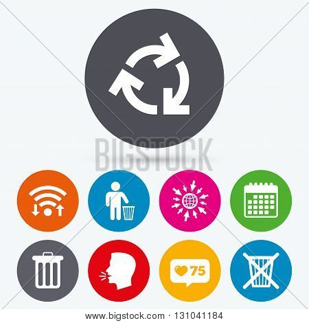 Wifi, like counter and calendar icons. Recycle bin icons. Reuse or reduce symbols. Human throw in trash can. Recycling signs. Human talk, go to web.