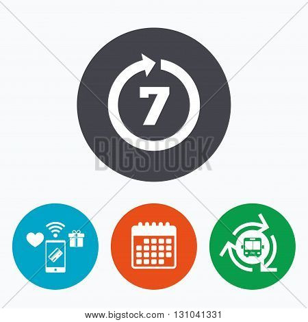 Return of goods within 7 days sign icon. Warranty exchange symbol. Mobile payments, calendar and wifi icons. Bus shuttle.