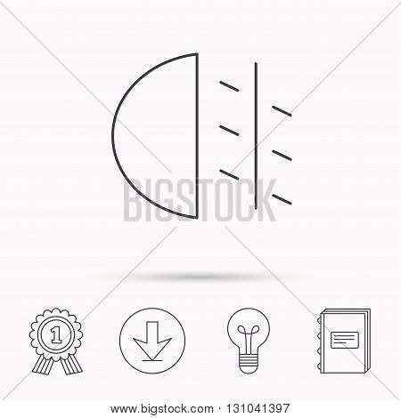 Fog lights icon. Car beam sign. Download arrow, lamp, learn book and award medal icons.