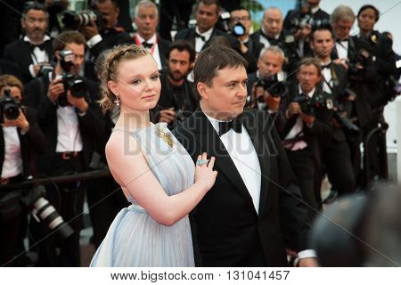 Maria Dragus, Crisitan Mungiu  at the Palme D'Or Winner Red Carpet at the 69th Festival de Cannes. May 22, 2016  Cannes, France