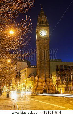 Albert Memorial Clock in Belfast. Belfast Northern Ireland United Kingdom.