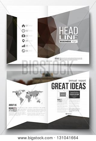 Set of business templates for brochure, magazine, flyer, booklet or annual report. Polygonal background, blurred image, urban landscape, modern triangular vector texture.