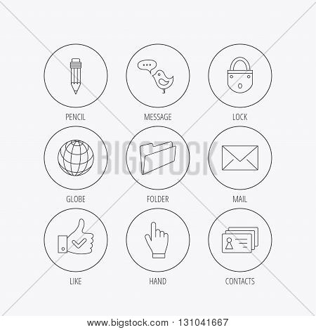 Pencil, press hand and world globe icons. Bird message, social network and mail linear signs. Contacts, like and folder icons. Linear colored in circle edge icons.