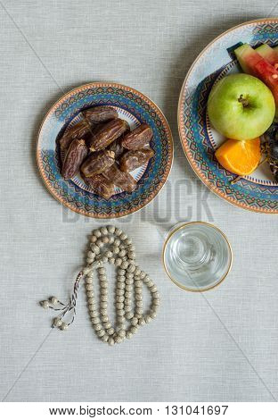 Healthy and fresh fruits, dates for breaking fast during Holy month of ramadan.