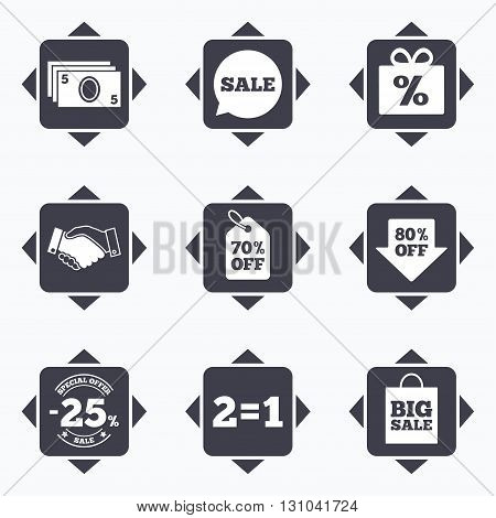 Icons with direction arrows. Sale discounts icon. Shopping, handshake and cash money signs. 25, 70 and 80 percent off. Special offer symbols. Square buttons.
