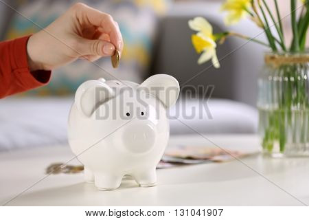 Female hand putting coin into piggy bank closeup