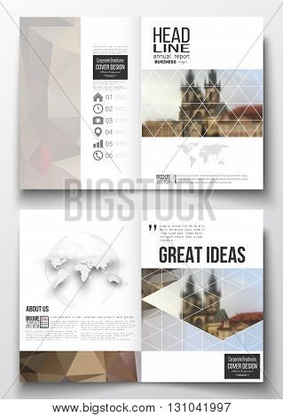 Set of business templates for brochure, magazine, flyer, booklet or annual report. Polygonal background, blurred image, urban landscape, cityscape of Prague, modern triangular texture