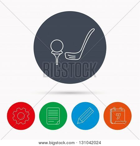 Golf club icon. Golfing sport sign. Professional equipment symbol. Calendar, cogwheel, document file and pencil icons.