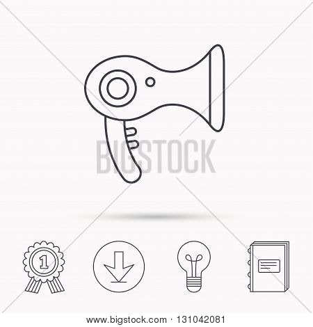 Hairdryer icon. Electronic blowdryer sign. Hairdresser equipment symbol. Download arrow, lamp, learn book and award medal icons.