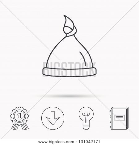 Baby hat icon. Newborn cap sign. Toddler sleeping clothes symbol. Download arrow, lamp, learn book and award medal icons.