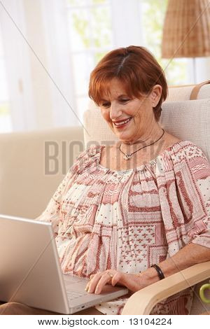 Elderly woman using laptop computer at home, sitting in armchair, looking at screen.