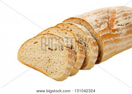 Loaf of continental bread, three slices cut off