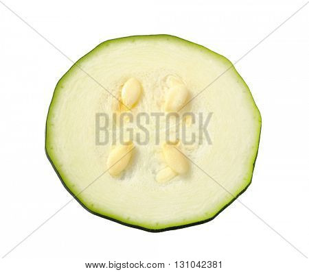 thin slice of fresh zucchini isolated on white background