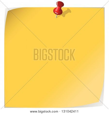 Pinned yellow note paper isolated on white background.